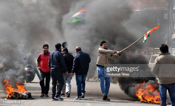 Protestors during a protest against the killing of CRPF personnel in the Pulwama terror attack on February 15 2019 in Jammu India At least 40 CRPF...