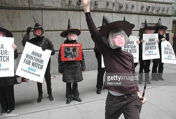 Protestors during PETA Haunts Anna Wintour at Halloween Fur Protest in New York City October 28 2005 at Conde Nast Building in New York City New York...