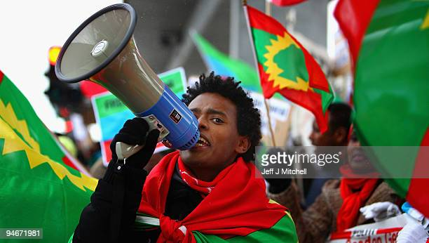 Protestors from Denmark's Ogaden Community demonstrate outside the UN climate change conference on December 17 2009 in Copenhagen Denmark The group...