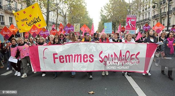 Protestors from feminist movements leftwing parties and tradeunions demonstrate in Paris on October 17 to ask for 'a real equality between men and...