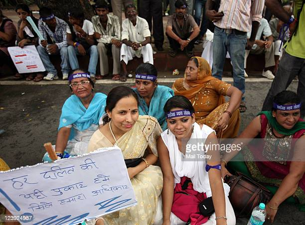 Protestors from 'Social Justice Forum for Lokpal' demonstrate at Jantar Mantar demanding constitutional safeguards for Dalits Adivasis OBCs Religious...