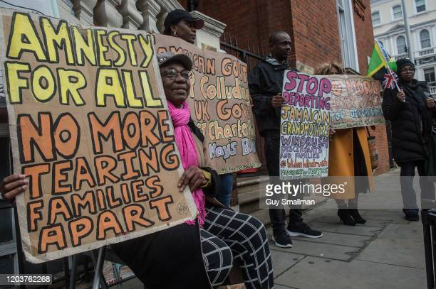 Protestors from the Movement For Justice group demonstrate outside the Jamaican High Commission in London to demand that Jamaica stops cooperating...