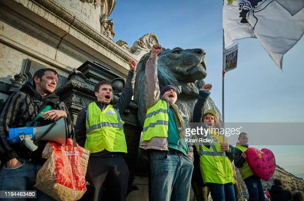 Protestors gather at Place de la Republique chanting against President Macron as strikes in France enter their third week with new unions joining the...