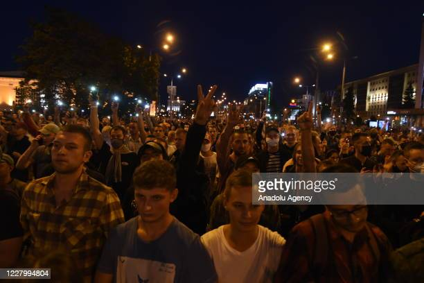Protestors gather at streets after the early election results in Minsk Belarus on August 10 2020 Belarusian President Alexander Lukashenko won a...