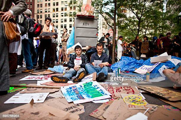 Protestors gather at Zuccotti Park during a demonstration in New York City on Saturday October 8 2011 Hundreds of protestors have camped out at...