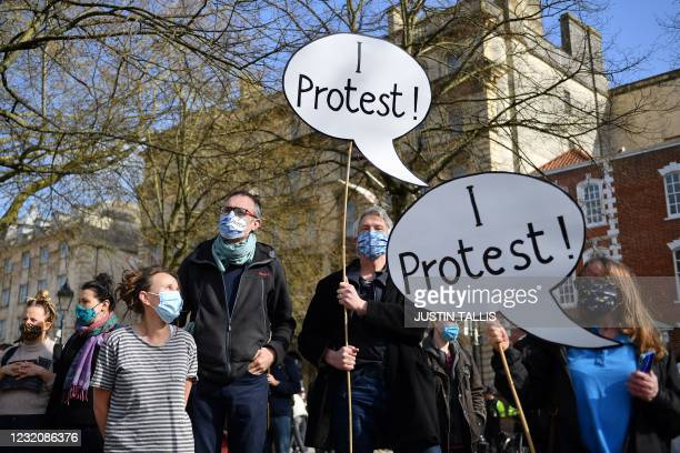Protestors gather for a 'Kill The Bill' protest against the Government's Police, Crime, Sentencing and Courts Bill, in Bristol south west England on...