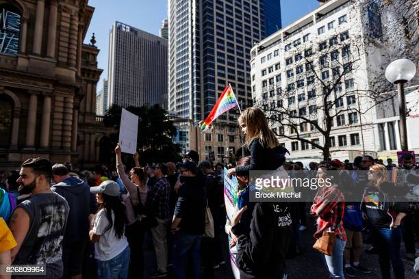 Protestors gather for a rally in support of Gay marriage at Sydney Town Hall on August 6 2017 in Sydney Australia The federal government is under...
