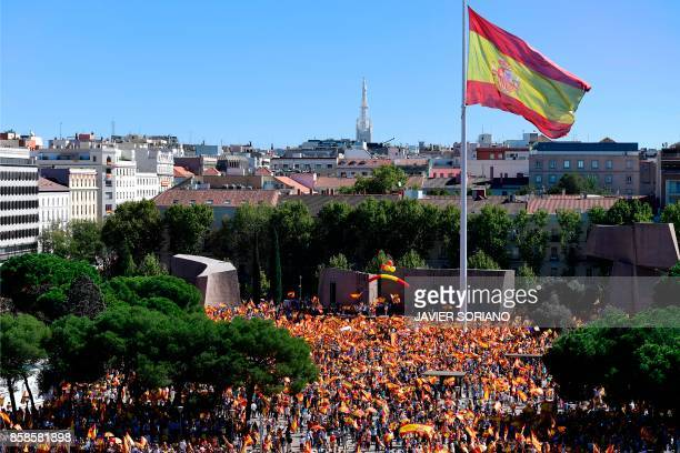 Protestors gather holding Spanish flags during a demonstration against independence of Catalonia called by DENAES foundation for the Spanish Nation...