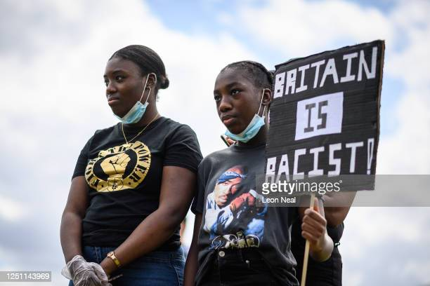 Protestors gather in Hyde Park ahead of a march towards Downing Street on June 21 2020 in London United Kingdom Black Lives Matter protests are...