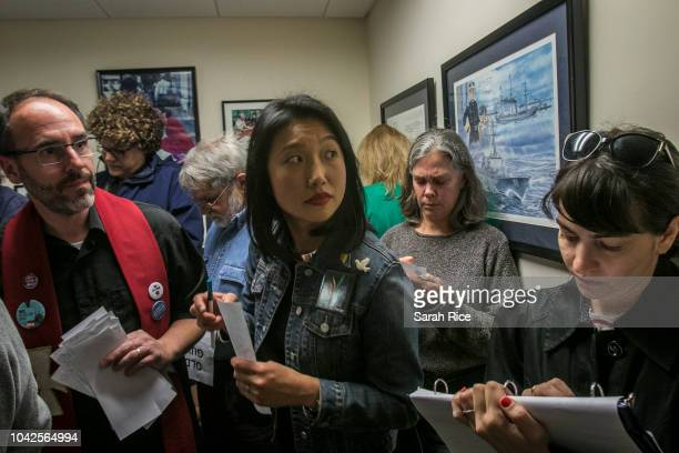 Protestors gather in Sen Susan Collins' office to urge Sen Collins to vote no on the confirmation of Supreme Court nominee Brett Kavanaugh on...