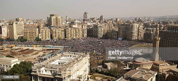 Protestors gather in Tahrir Square on February 1, 2011 in Cairo, Egypt. The Egyptian army has said it will not fire on protestors as they gather in...