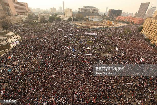 Protestors gather in Tahrir Square on February 1 2011 in Cairo Egypt Protests in Egypt continued with the largest gathering yet with many tens of...