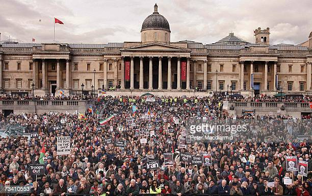 Protestors gather in Trafalgar Square on February 24, 2007 in London. The Stop the War Coalition, Campaign for Nuclear Disarmament and the British...