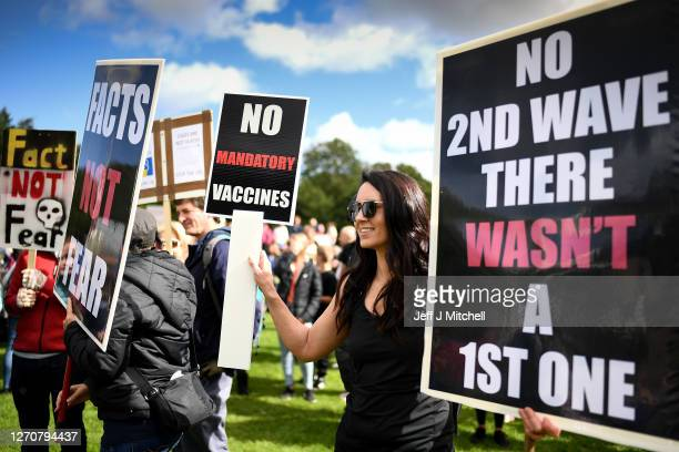 Protestors gather near the Scottish Parliament to demonstrate against a secondary lockdown, coronavirus face covering rules and the search for a...