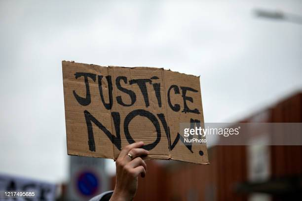 Protestors gather on June 3 2020 in Northampton England in a demonstration after George Floyd was killed by police in the USA