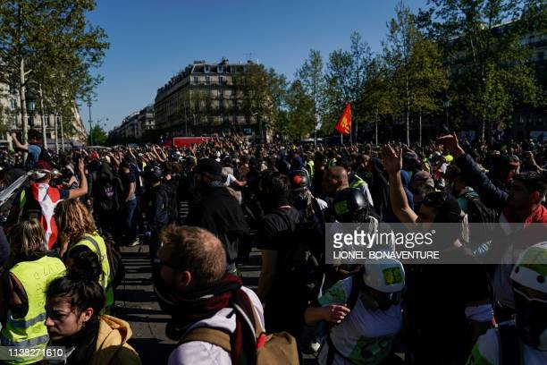 Protestors gather on Place de la Republique during an antigovernment demonstration called by the 'Yellow Vests' movement in Paris on April 20 2019...