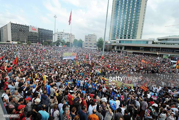 Protestors gather on Taksim square on June 2 a day after Turkish police pulled out of Istanbul's iconic square following a second day of violent...