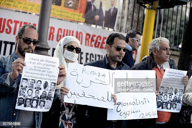 Protestors gather on the eve of 'World Day for Freedom of the Press' to demonstrate outside the Egyptian embassy on May 2 2016 in Rome Italy...