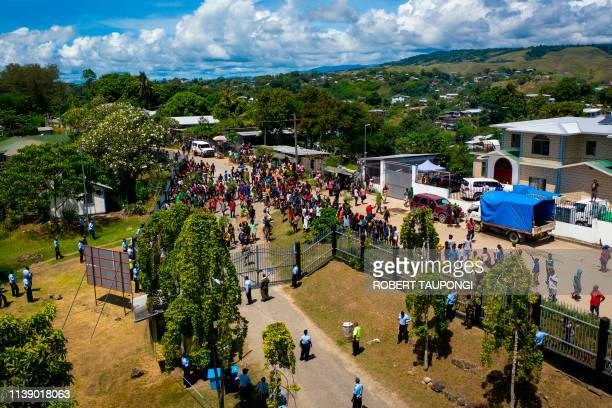 Protestors gather outside the Parliamnet House building during the veteran politician Manasseh Sogavare press conference in Honiara Solomons Islands...