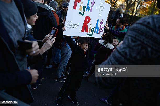 Protestors gather outside Trump Tower In New York City on November 13 2016 in New York City