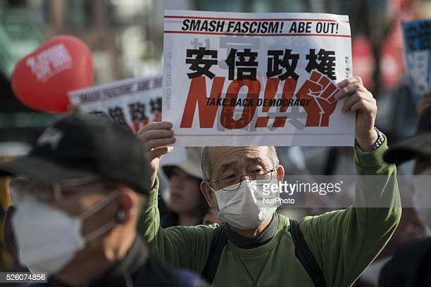 Protestors gathered at Yoyogi Park on Feb14 Tokyo before marching through Shibuya to express opposition to Shinzo Abe's policies on a wide range of...