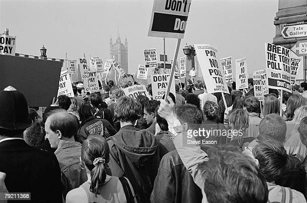Protestors gathered opposite the Houses of Parliament for a demonstration against the Poll Tax which later became a riot known as the 'Battle of...