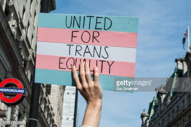 Protestors head through Whitehall as the second ever Trans Pride march takes place on September 12, 2020 in London, England.