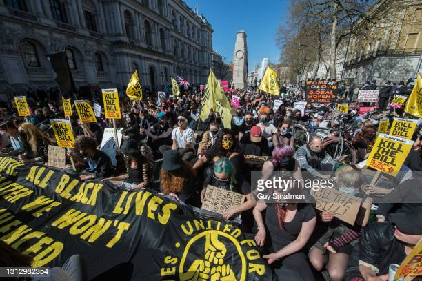 Protestors hold a sit down protest in Whitehall as over one thousand people protest against proposed new powers for the police on April 17, 2021 in...