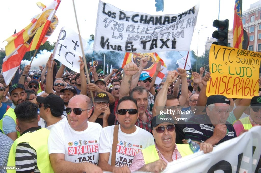 taxi drivers strike in spain pictures getty images