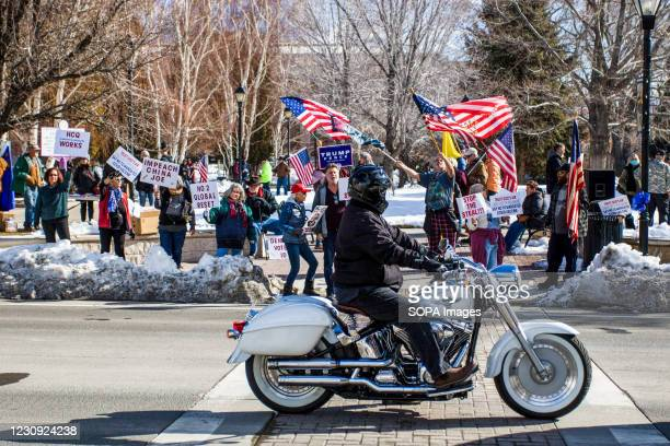 Protestors hold placards and flags during the demonstration. Protesters gathered at the state's legislative building to protest various causes such...