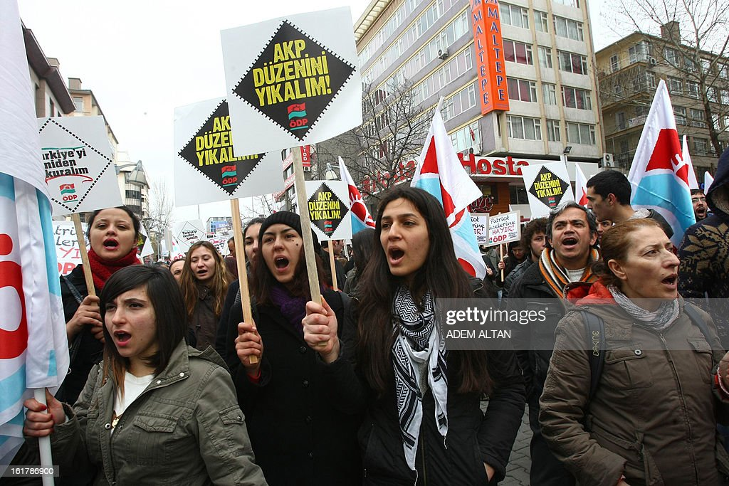 Protestors hold placards and shout during a demonstration of arround 150 people in central Ankara on February 16, 2013 against the deployment of US made Patriot missiles near the Syrian border. The left-wing group chantted slogans 'Let's drive the United States and NATO away from our country and our region' . NATO agreed in December to deploy Patriot missiles to help its ally Turkey after shells from Syria landed on the Turkish side of the border late last year, killing five civilians.