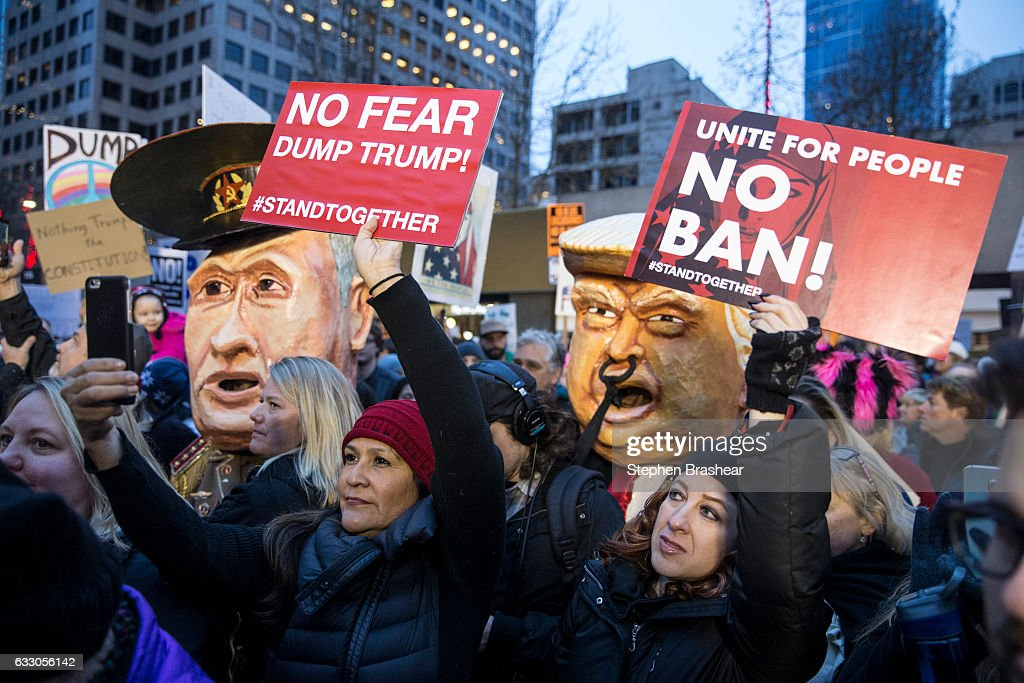 Protestors In Seattle Rally Against Trump's Muslim Immigration Ban : News Photo