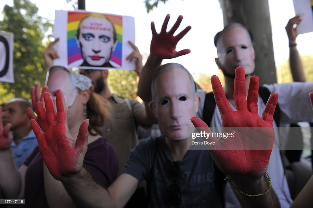 Demonstrators Protest Against Russian Anti Gay Laws Outside Their Embassy : News Photo