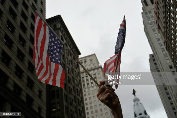 Protestors in Handsmaids Tale attire gather outside a fundraiser attended by Vice President Mike Pence and Lou Baretta at the Union League in...