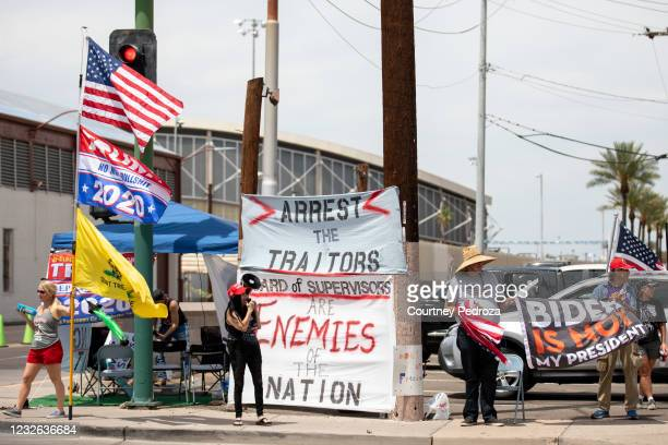 Protestors in support of former President Donald Trump gather outside Veterans Memorial Coliseum where Ballots from the 2020 general election wait to...