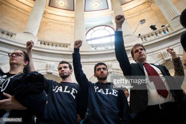 Protestors including current Yale University Law student Jesse Tripathi rally against Supreme Court nominee Judge Brett Kavanaugh in the rotunda of...
