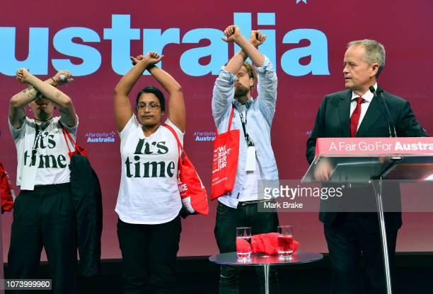 Protestors interrupt Labor leader Bill Shorten's opening address during the 2018 ALP National Conference on December 16 2018 in Adelaide Australia It...