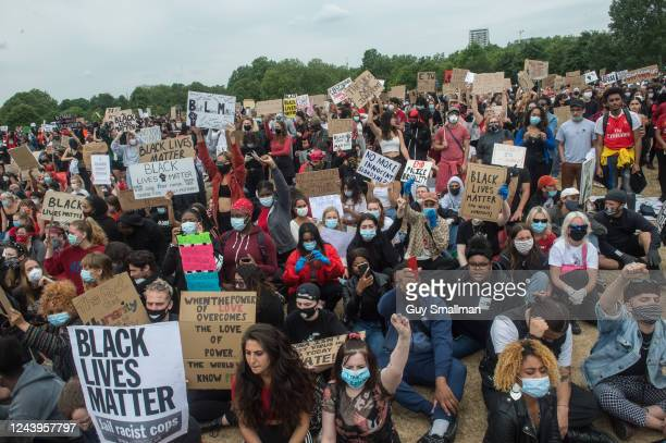 Protestors join a Black Lives Matter rally at Hyde Park before marching into central London and finishing at parliament square on June 3 2020 in...