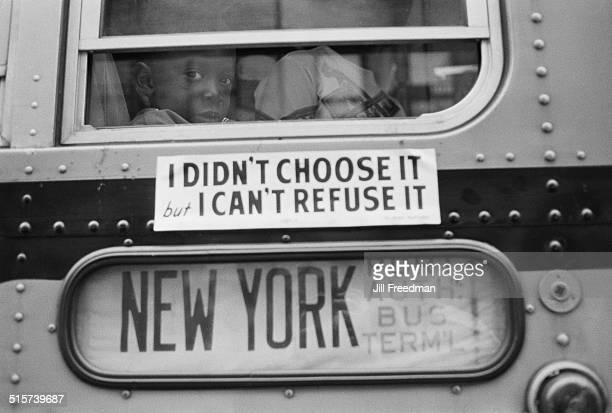 Protestors leave by bus from Newark New Jersey en route to Washington DC during the Poor People's Campaign 1968 The sign on the bus reads 'I didn't...