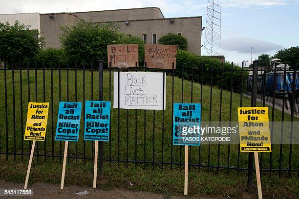 Protestors left signs in front of Police District 2 Station in Chicago on July 2016 after the video Alton Sterling being killed by Baton Rouge Police...