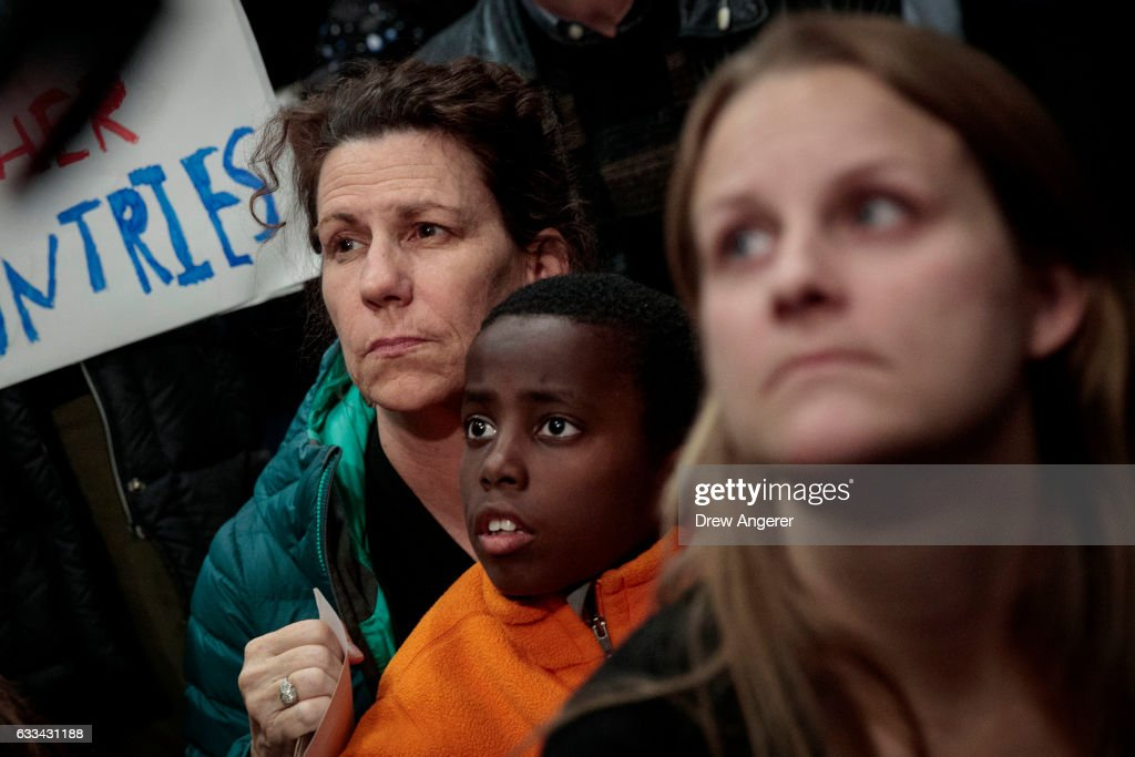 Demonstration Held At Reagan National Airport Against Trump's Recent Immigration Policy : News Photo