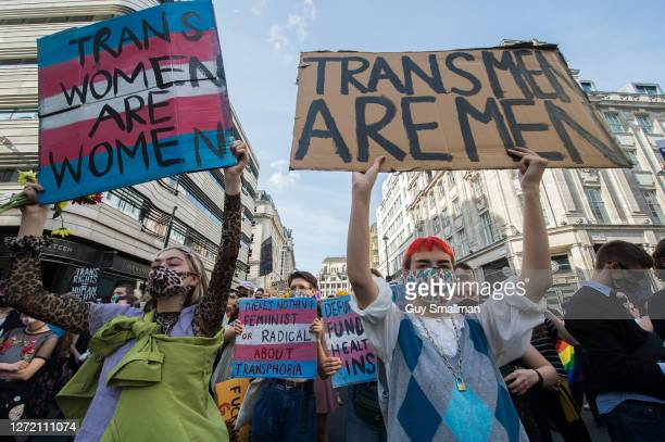 Protestors make their way through St James street as the second ever Trans Pride march takes place on September 12, 2020 in London, England.