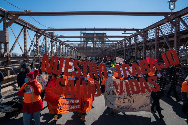 NY: Activists March Across Brooklyn Bridge Demanding Funding For Excluded Workers In NY State Budget