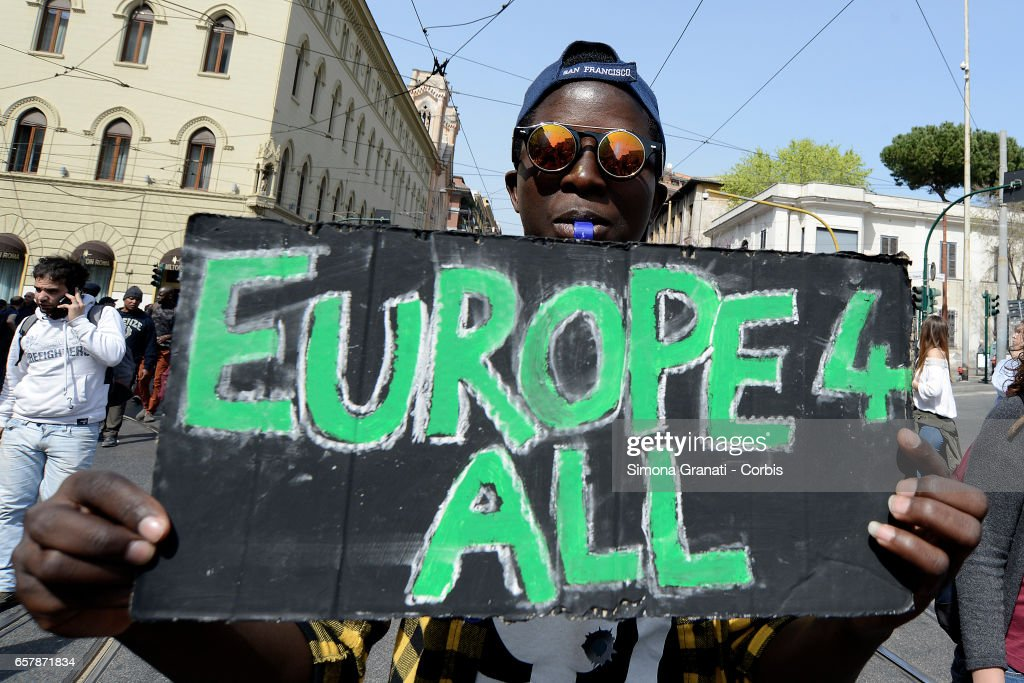"""Demonstration in Rome """"Our Europe"""", against borders, for the rights of all : News Photo"""