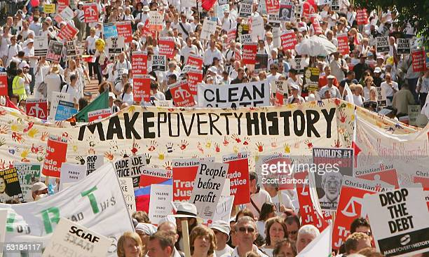 Protestors march during the Make Poverty History protest march on July 2 in Edinburgh Scotland Scotland's capital city hosted thousands of protesters...