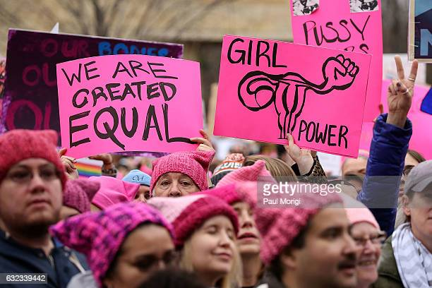 Protestors march during the Women's March On Washington on January 21, 2017 in Washington, DC.