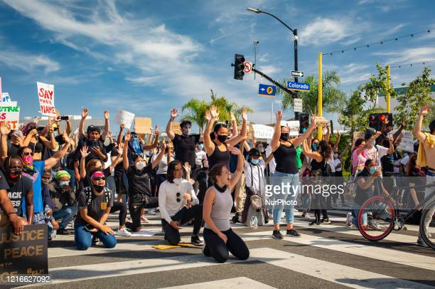 Protestors march in downtown as unrest continues in the wake of the death of George Floyd in Minneapolis in Santa Monica United States on May 31 2020