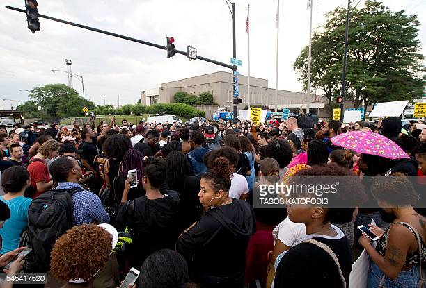 Protestors march in front of Police District 2 Station in Chicago on July 2016 after the video Alton Sterling being killed by Baton Rouge Police...