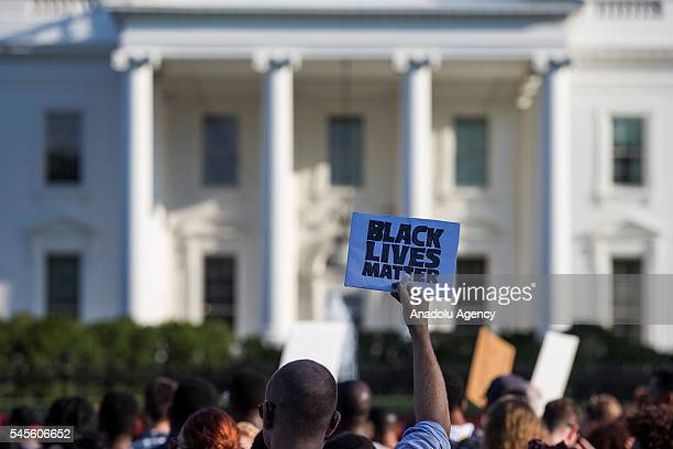 Protestors march in front of the White House for Police Reform in Washington USA on July 8 2016 Tensions have been renewed after two black men...