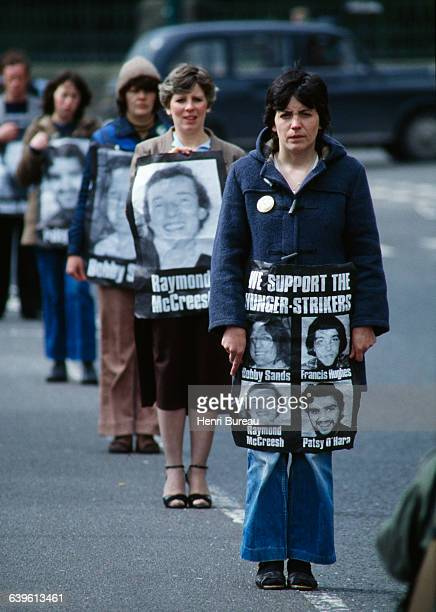 Protestors march in support of hunger strikers in particular Bobby Sands who fell into a coma after more than 60 days of not eating